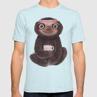 Sloth I♥lazy Mens Fitted Tee Light Blue SMALL
