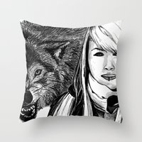 The Girl And The Wolf Throw Pillow