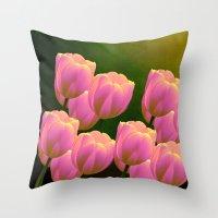 Tulips - Happy Family!  Throw Pillow