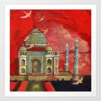 Taj Mahal In Pink Art Print