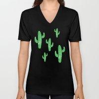 Linocut Cacti Green Unisex V-Neck