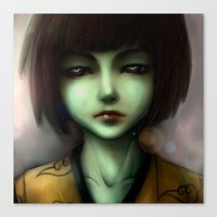 Canvas Print featuring Green skin girl by Neogulri