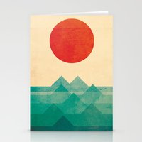 waves Stationery Cards featuring The ocean, the sea, the wave by Picomodi