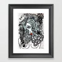 Girl in Bird Framed Art Print