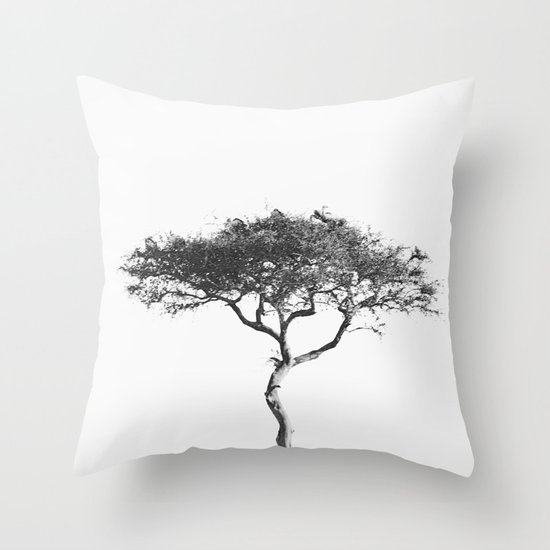 black&white::kenya Throw Pillow