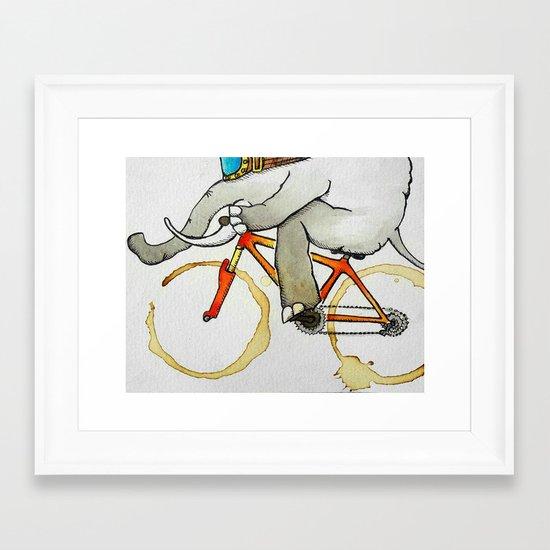 Elephant on a Bike Framed Art Print