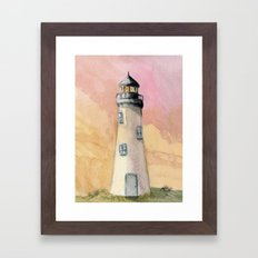 Lighthouse At Sunset Framed Art Print