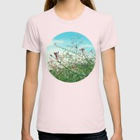 Field Wild Flowers Womens Fitted Tee Light Pink SMALL