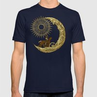 Moon Travel Mens Fitted Tee Navy SMALL