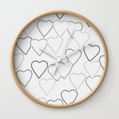 Black and White R Hearts Wall Clock