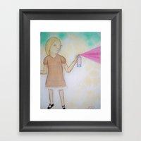 Spray Paint Girl Framed Art Print
