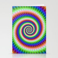Green Blue Red and Yellow Spiral Stationery Cards