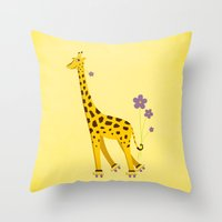 Yellow Funny Roller Skat… Throw Pillow