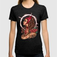 WiTcHeS BE CraZy Womens Fitted Tee Tri-Black SMALL