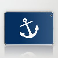 Navy Blue Anchor Laptop & iPad Skin