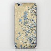 Vintage Duotone Indigo Blue and Cream Spring Dogwood Branches iPhone & iPod Skin