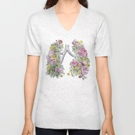 Floral Anatomy Lungs Unisex V-Neck