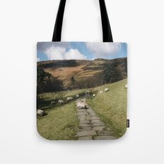 Stone footpath and grazing sheep. Edale, Derbyshire, UK. Tote Bag