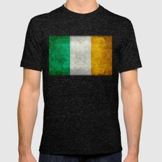Flag of Ireland - Vintage retro style Mens Fitted Tee Tri-Black SMALL