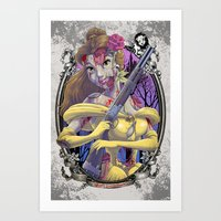 Zombie Beauty and the Beast Art Print