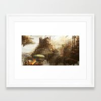 Steampunk city Framed Art Print