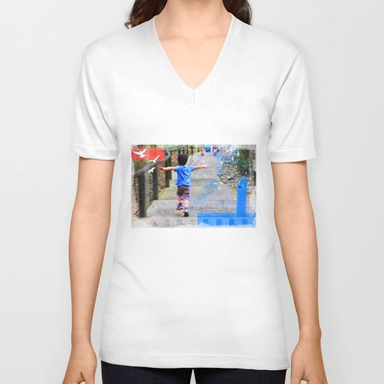 learning to fly 02 V-neck T-shirt