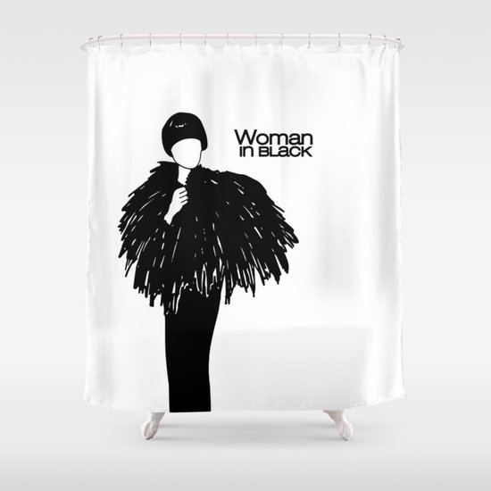 Woman In Black Shower Curtain By Etiquette