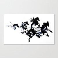 Black horses Canvas Print