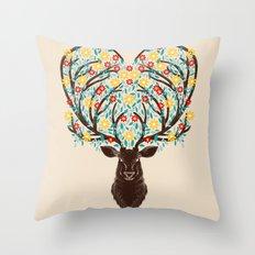 Blooming Deer Spring Throw Pillow