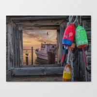 Sunrise with Fishing Boat, Gulls and Fishing Bouys Canvas Print