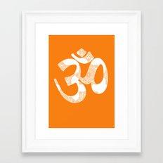Orange Damask OM - spiritual  Framed Art Print