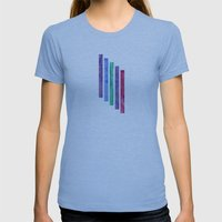 Peacock Stripes Womens Fitted Tee Athletic Blue SMALL
