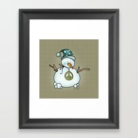 Snowman {Peaceful} Framed Art Print