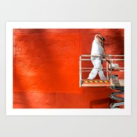 Wall of Orange Art Print