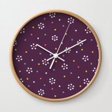Floral Pattern In Purple And Dots Wall Clock