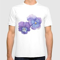 Purple Pansies Mens Fitted Tee White SMALL