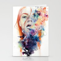 friends Stationery Cards featuring this thing called art is really dangerous by agnes-cecile