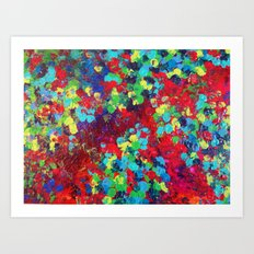 POND IN PIGMENT - Bright Bold Neon Abstract Acylic Floral Aquatic Painting Dots Pattern Trendy Gift  Art Print