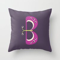 Letter B // Animal Alphabet // Butterfly Throw Pillow