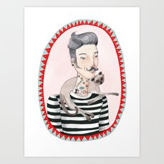 He is a cat person! Art Print