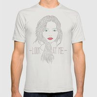 Look At Me Mens Fitted Tee Silver SMALL