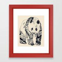 Tattooed Panda {cream} Framed Art Print