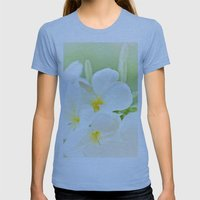 White Plumeria 2 Womens Fitted Tee Athletic Blue SMALL
