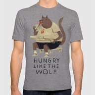 Hungry Like The Wolf Mens Fitted Tee Tri-Grey SMALL