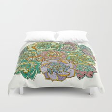 Blooming Succulents Duvet Cover