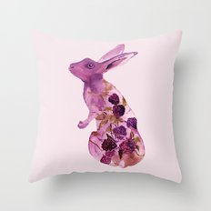 Fruit Bunny with Blackberries Throw Pillow