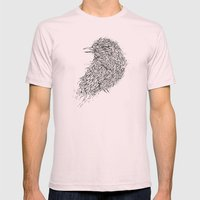 Tosca line art bird illustration Mens Fitted Tee Light Pink SMALL