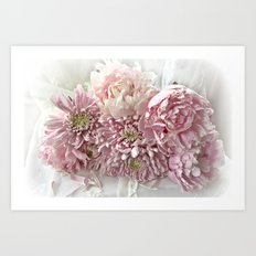 Cottage Chic Pink Peonies and Carnations Art Print
