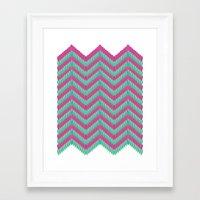 Hot Pink & Mint Framed Art Print