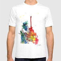 Watercolor And Fine Line… Mens Fitted Tee White SMALL